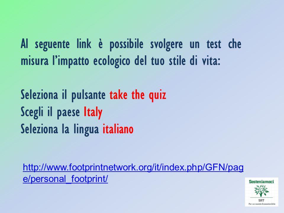 Seleziona il pulsante take the quiz Scegli il paese Italy