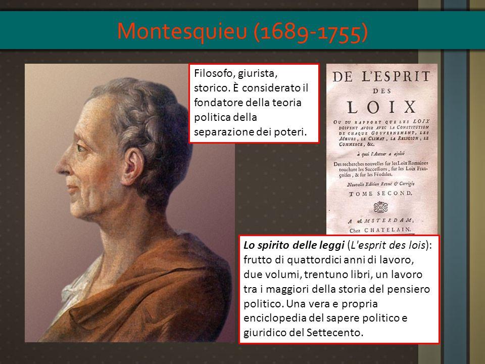 Montesquieu (1689-1755) Filosofo, giurista, storico. È considerato il fondatore della teoria politica della separazione dei poteri.