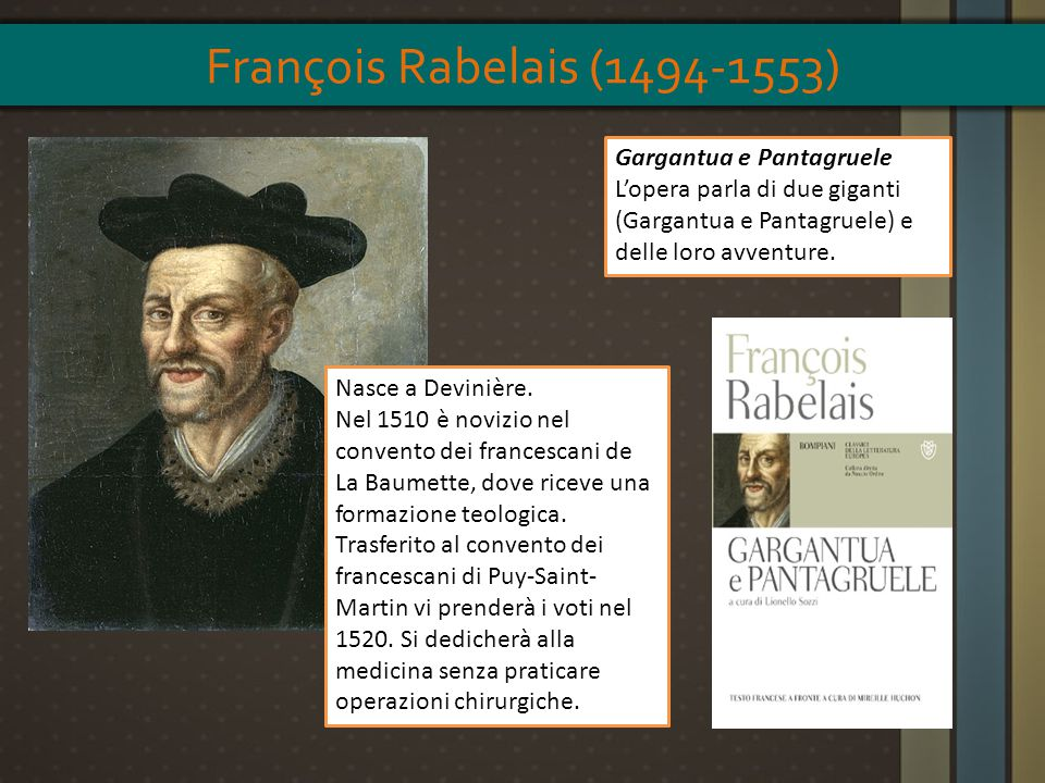 François Rabelais (1494-1553) Gargantua e Pantagruele