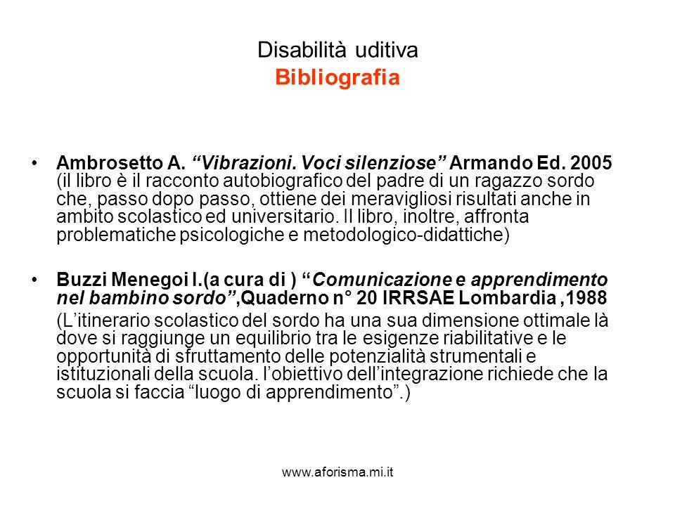 Disabilità uditiva Bibliografia