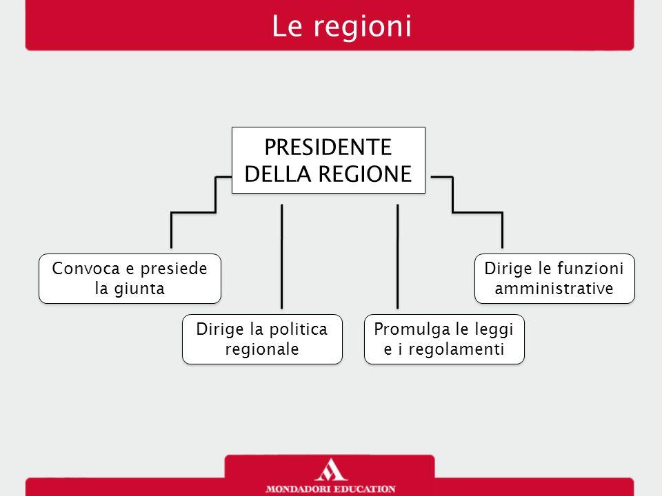 Le regioni PRESIDENTE DELLA REGIONE Convoca e presiede la giunta