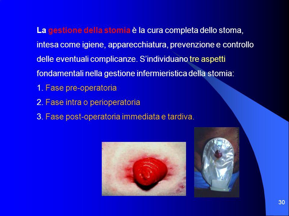 La gestione della stomia è la cura completa dello stoma, intesa come igiene, apparecchiatura, prevenzione e controllo delle eventuali complicanze. S'individuano tre aspetti fondamentali nella gestione infermieristica della stomia: