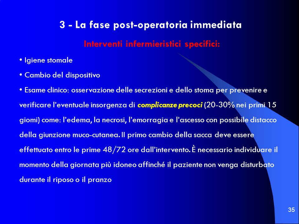 3 - La fase post-operatoria immediata