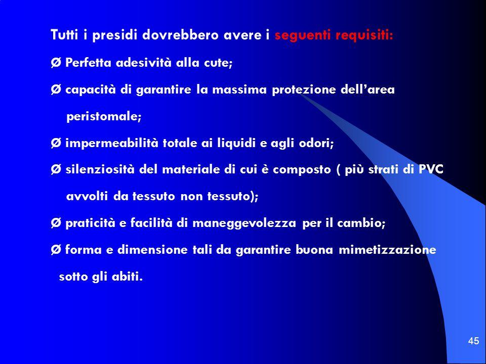 Tutti i presidi dovrebbero avere i seguenti requisiti: Ø Perfetta adesività alla cute; Ø capacità di garantire la massima protezione dell'area