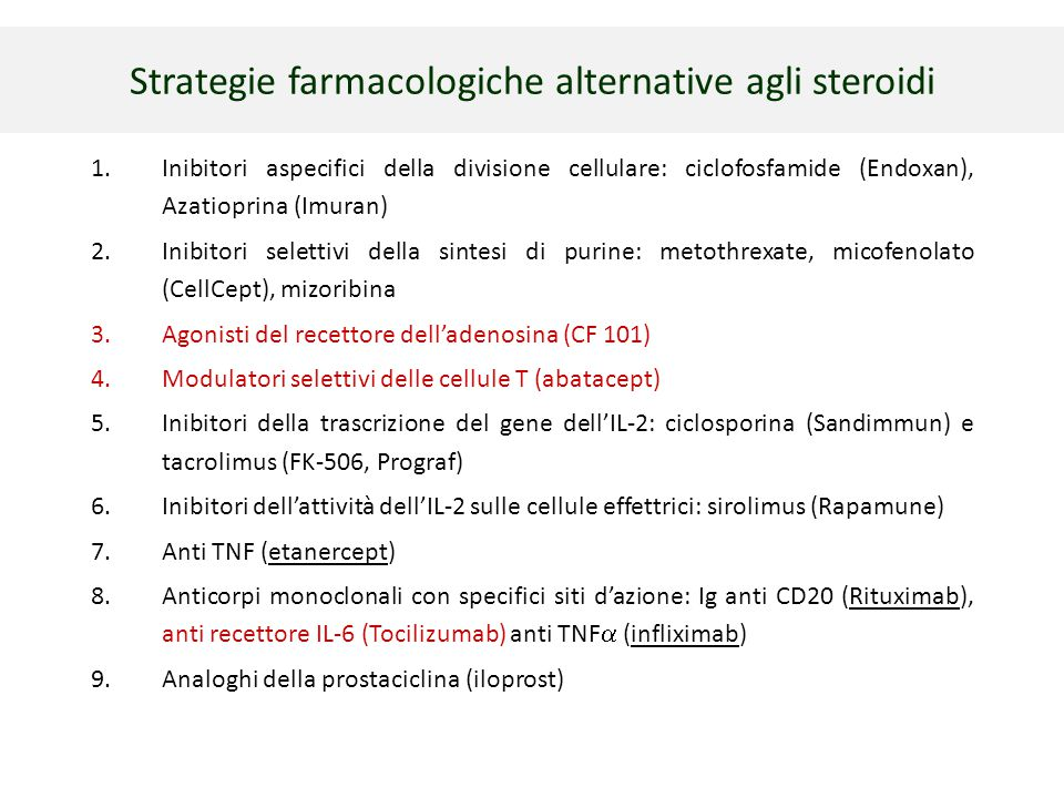Strategie farmacologiche alternative agli steroidi