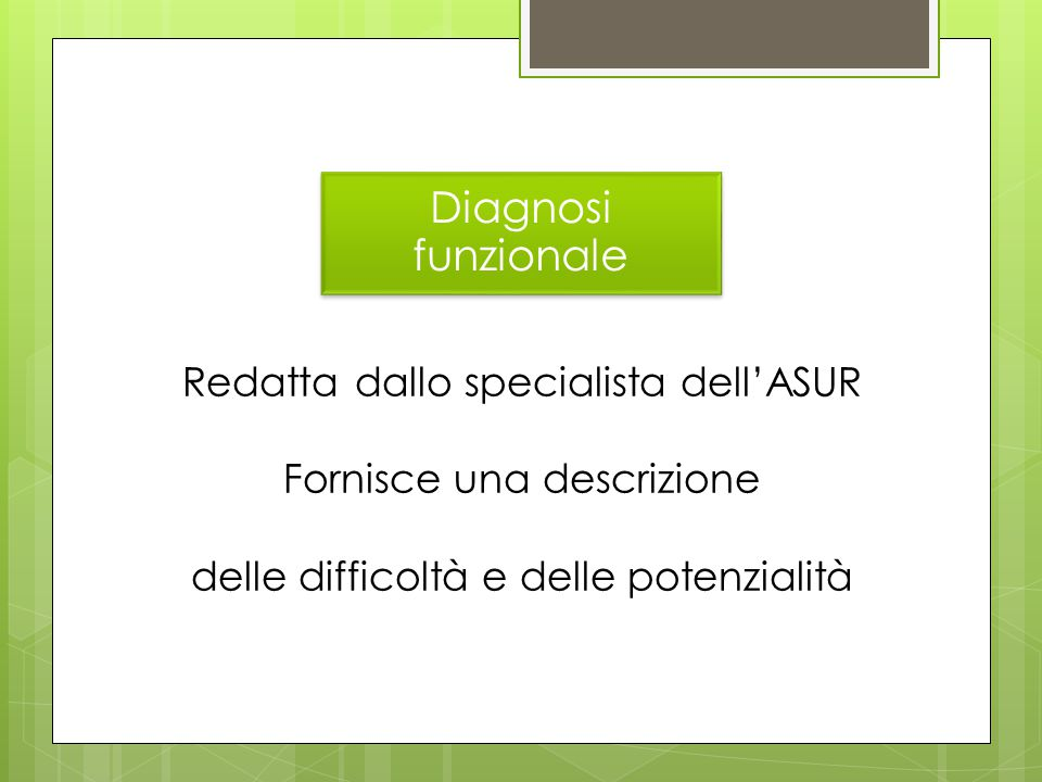 Diagnosi funzionale Redatta dallo specialista dell'ASUR