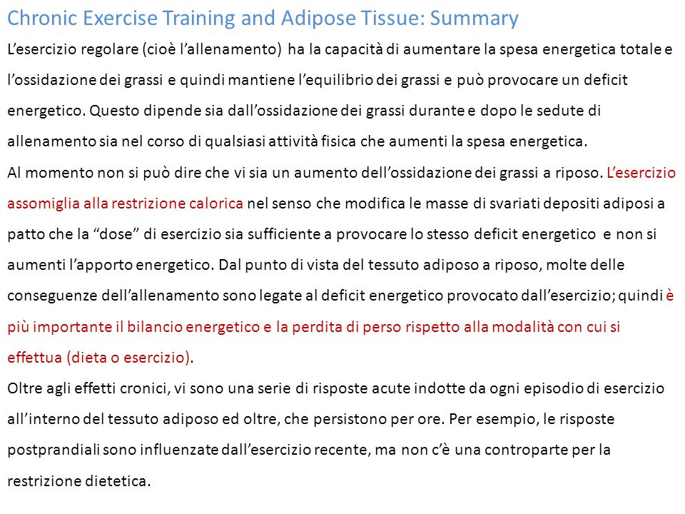 Chronic Exercise Training and Adipose Tissue: Summary