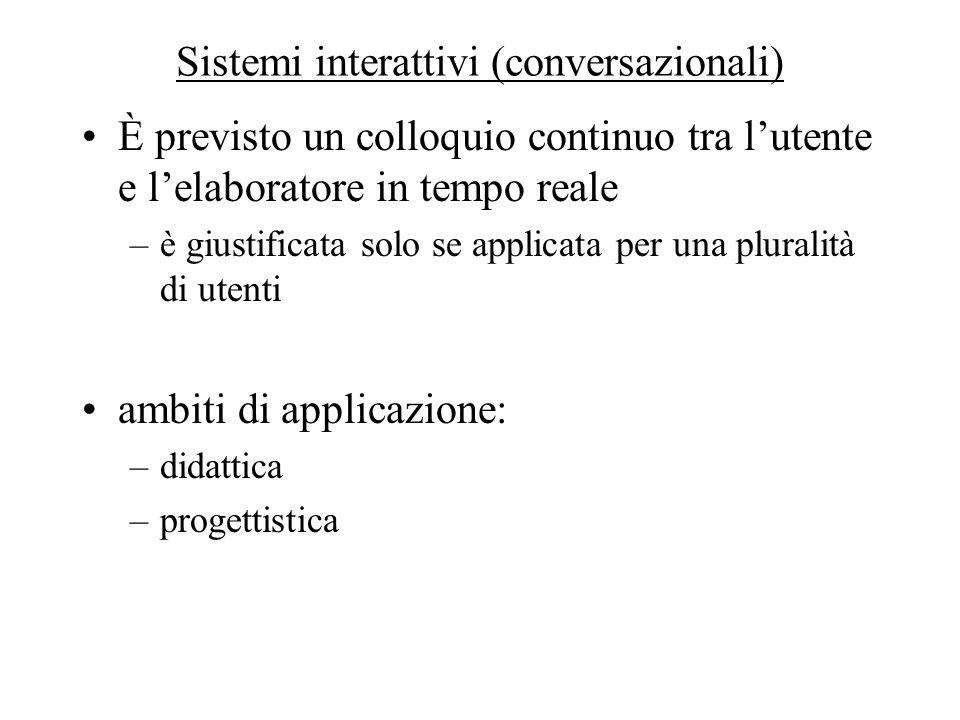 Sistemi interattivi (conversazionali)