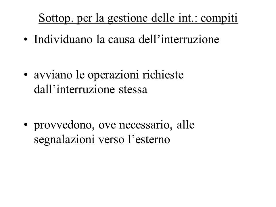 Sottop. per la gestione delle int.: compiti