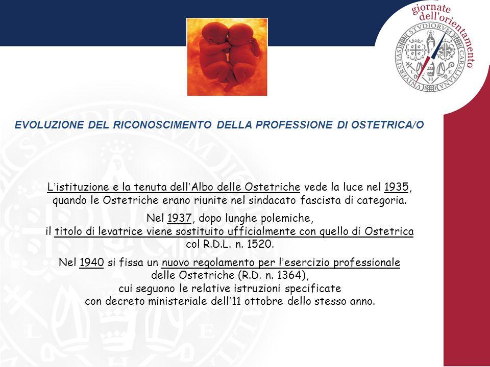 EVOLUZIONE DEL RICONOSCIMENTO DELLA PROFESSIONE DI OSTETRICA/O