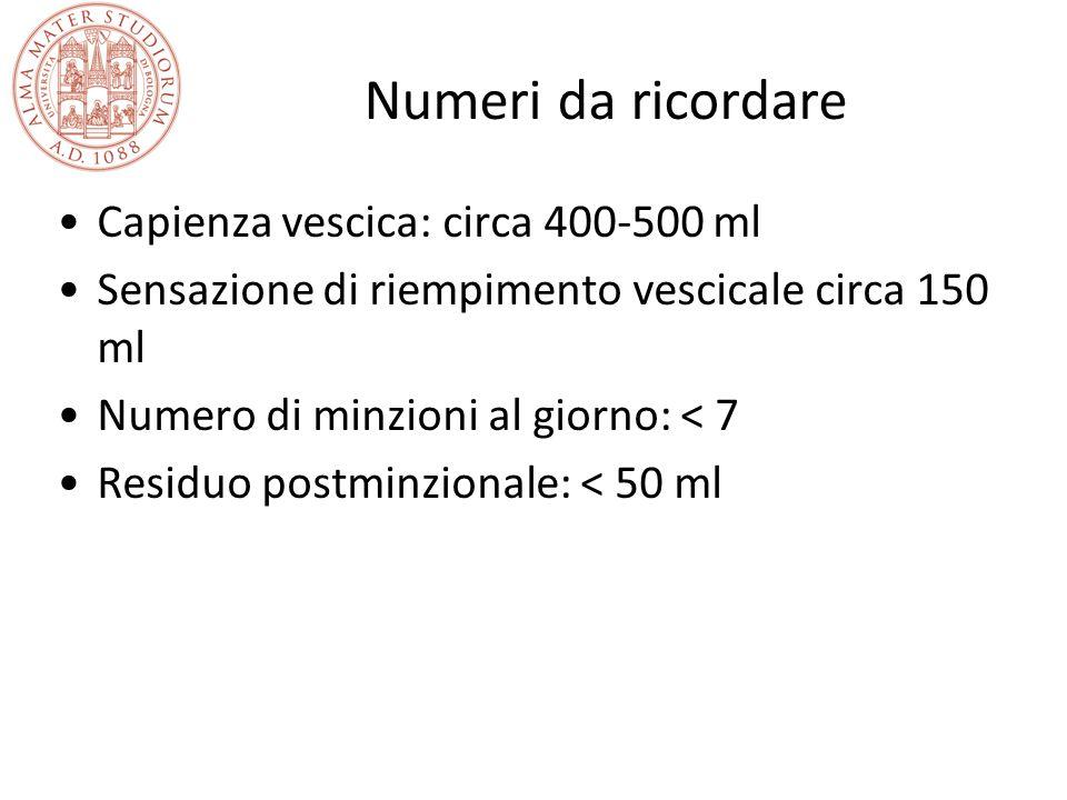 Numeri da ricordare Capienza vescica: circa 400-500 ml