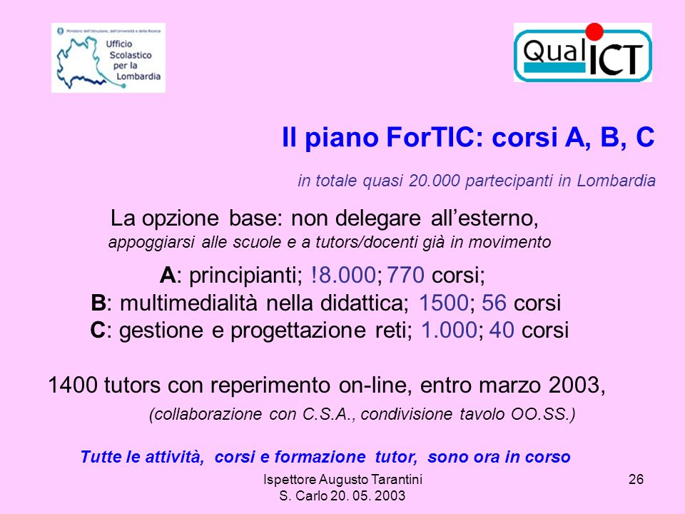 Il piano ForTIC: corsi A, B, C in totale quasi 20