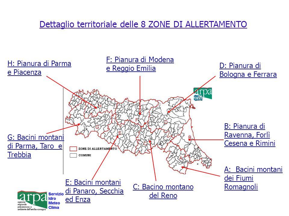 Dettaglio territoriale delle 8 ZONE DI ALLERTAMENTO