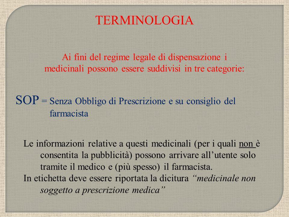 SOP = Senza Obbligo di Prescrizione e su consiglio del farmacista