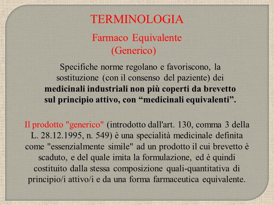 TERMINOLOGIA Farmaco Equivalente (Generico)