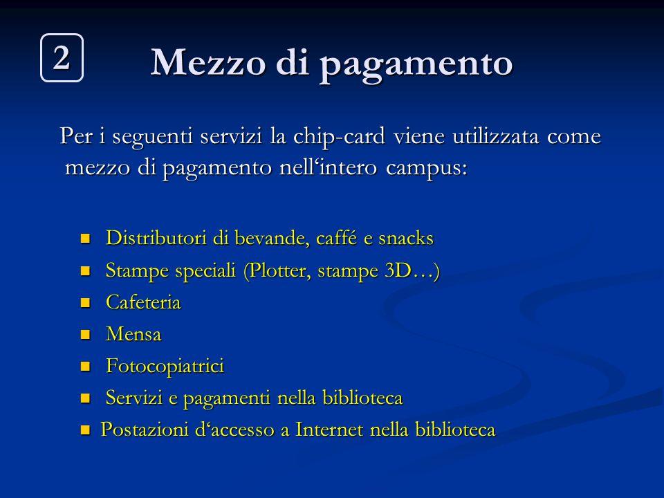 Mezzo di pagamento 2. Per i seguenti servizi la chip-card viene utilizzata come mezzo di pagamento nell'intero campus: