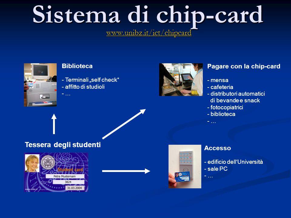 Sistema di chip-card www.unibz.it/ict/chipcard Tessera degli studenti