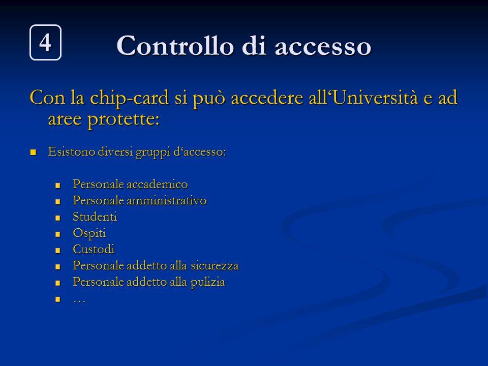 Controllo di accesso 4. Con la chip-card si può accedere all'Università e ad aree protette: Esistono diversi gruppi d'accesso: