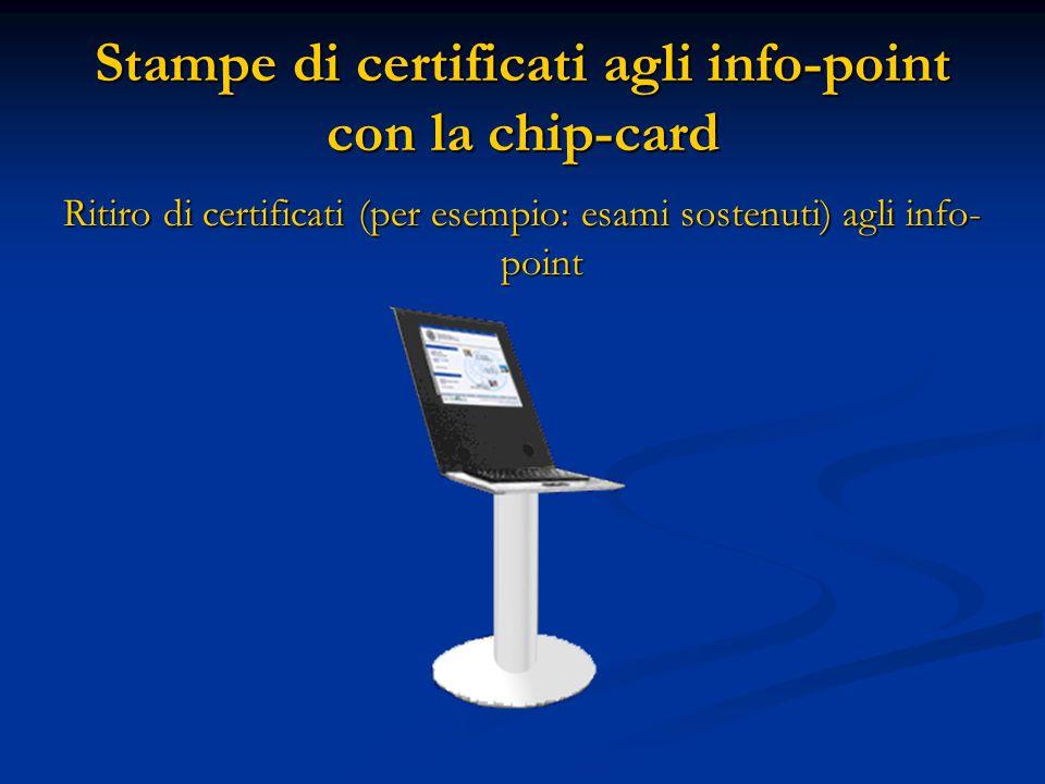 Stampe di certificati agli info-point con la chip-card