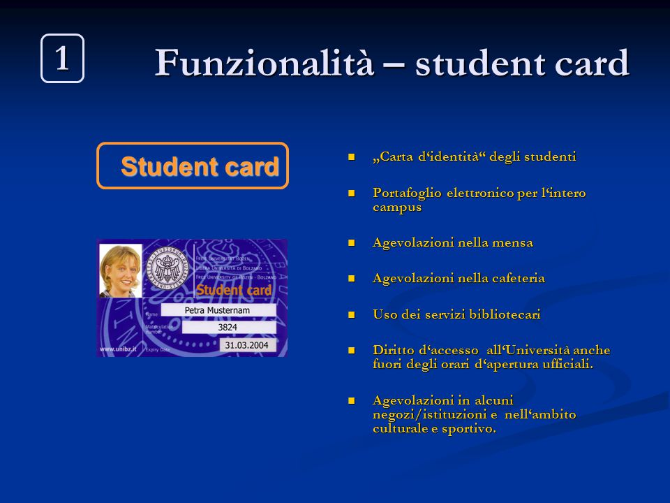 Funzionalità – student card