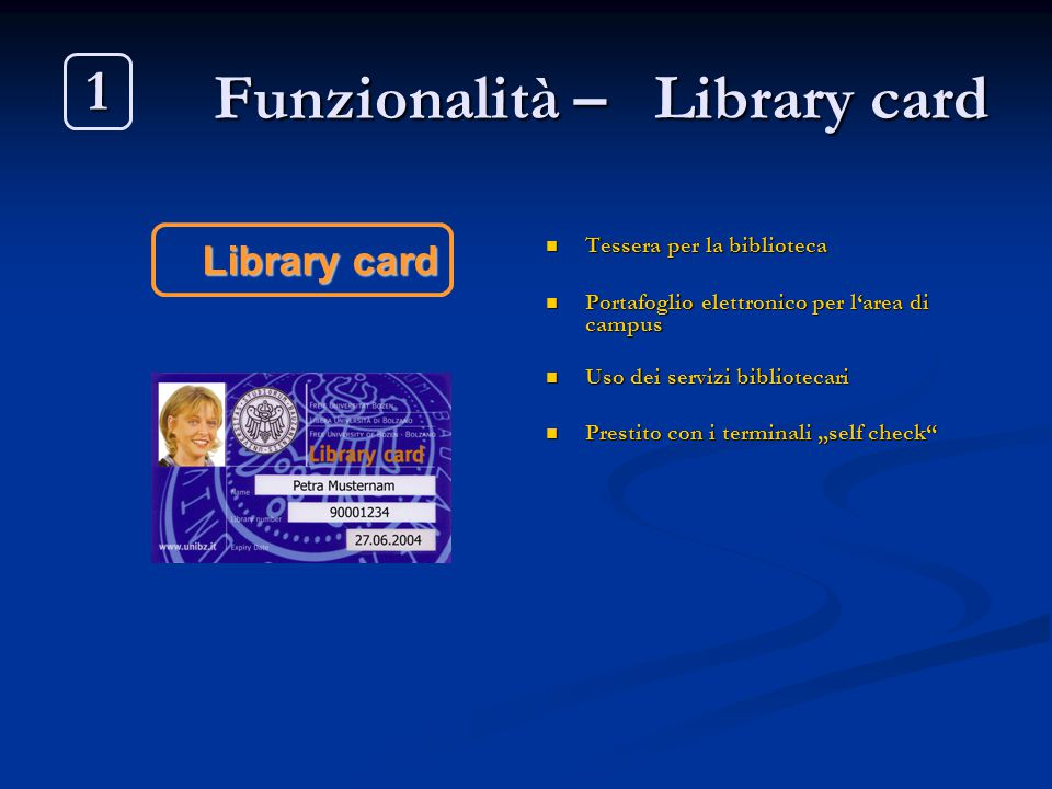 Funzionalità – Library card