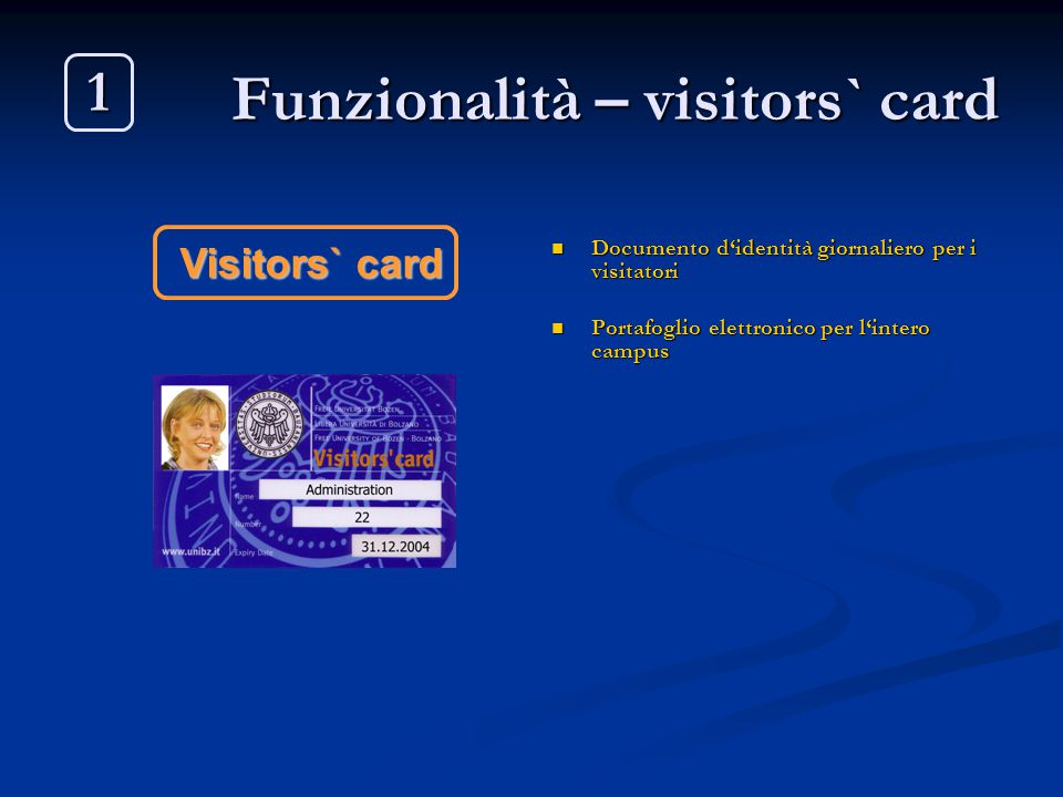 Funzionalità – visitors` card
