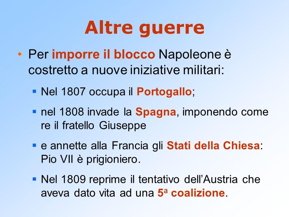 Altre guerre Per imporre il blocco Napoleone è costretto a nuove iniziative militari: Nel 1807 occupa il Portogallo;