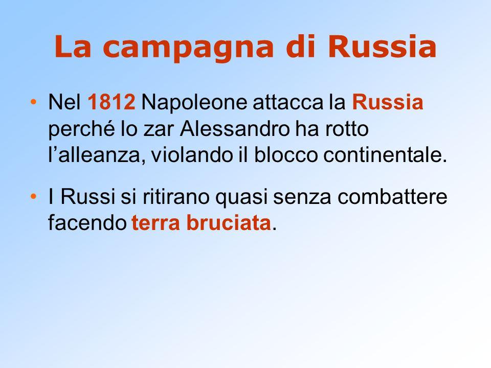 La campagna di Russia Nel 1812 Napoleone attacca la Russia perché lo zar Alessandro ha rotto l'alleanza, violando il blocco continentale.
