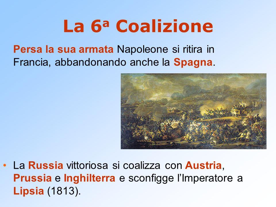 La 6a Coalizione Persa la sua armata Napoleone si ritira in Francia, abbandonando anche la Spagna.