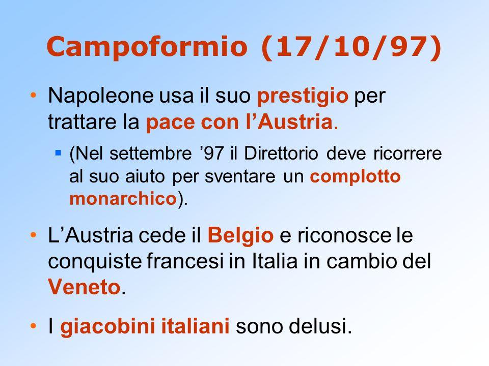 Campoformio (17/10/97) Napoleone usa il suo prestigio per trattare la pace con l'Austria.