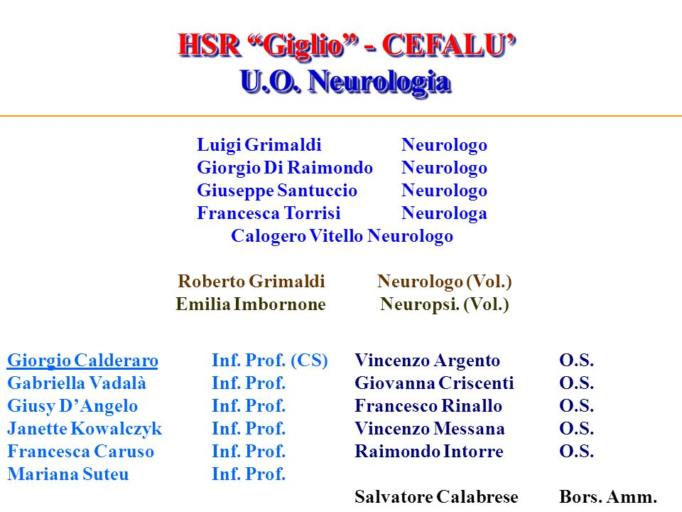 HSR Giglio - CEFALU' U.O. Neurologia