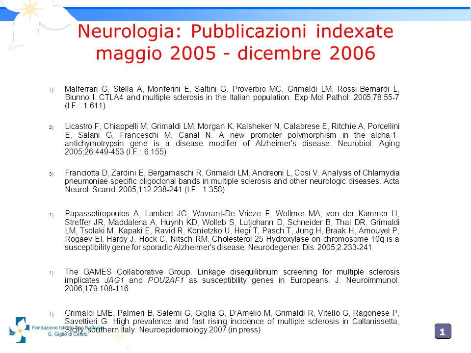 Neurologia: Pubblicazioni indexate maggio 2005 - dicembre 2006