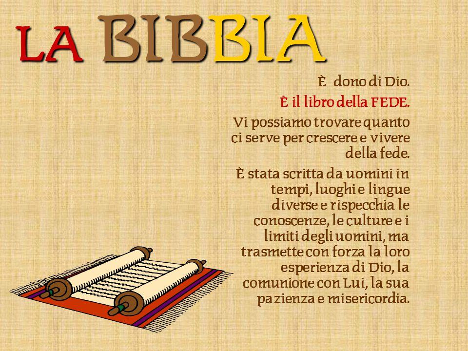 LA BIBBIA È dono di Dio. È il libro della FEDE.