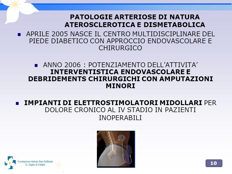 PATOLOGIE ARTERIOSE DI NATURA ATEROSCLEROTICA E DISMETABOLICA