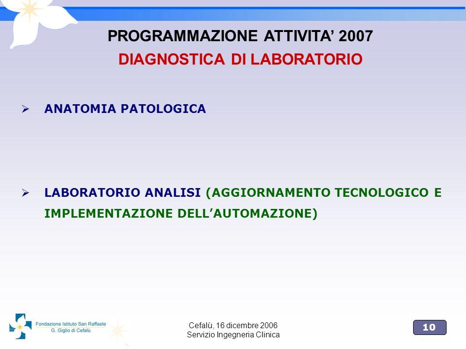 PROGRAMMAZIONE ATTIVITA' 2007 DIAGNOSTICA DI LABORATORIO