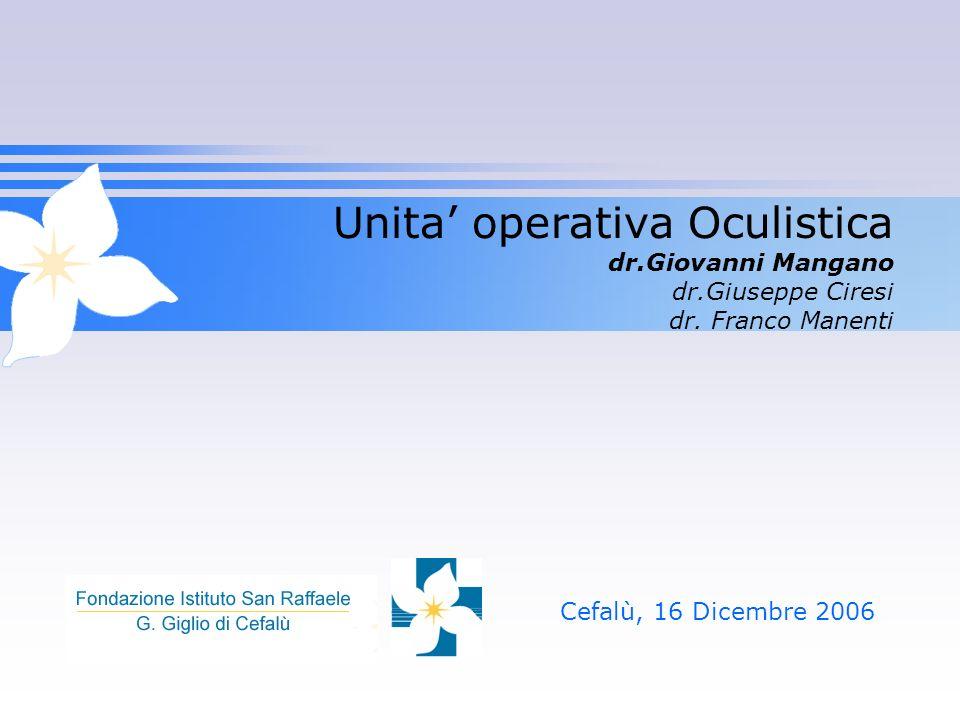 Unita' operativa Oculistica dr.Giovanni Mangano dr.Giuseppe Ciresi dr. Franco Manenti