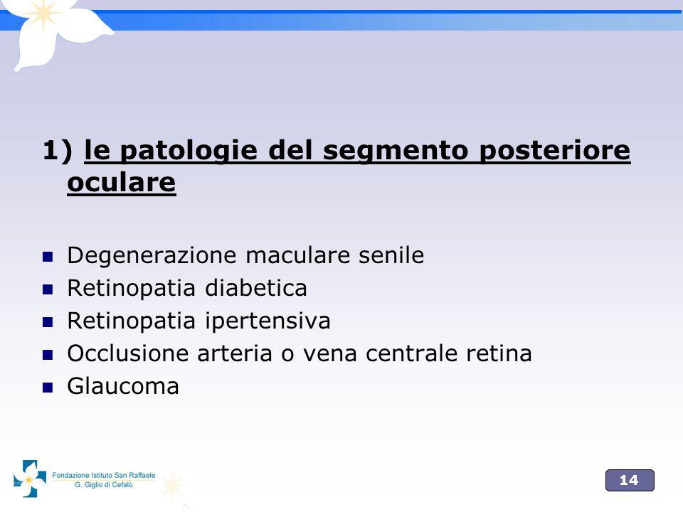 1) le patologie del segmento posteriore oculare
