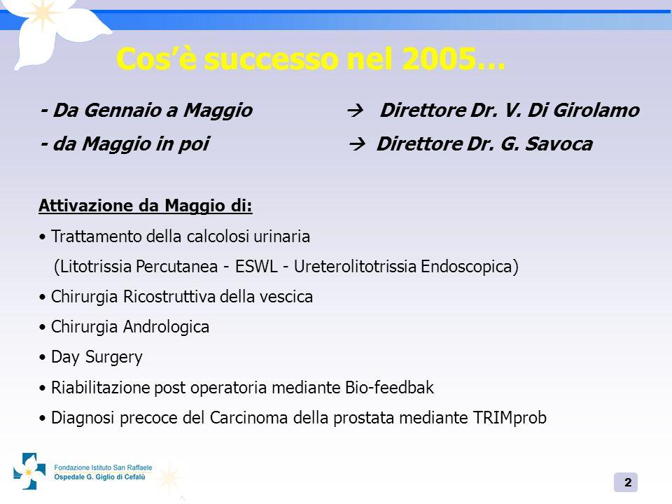 Cos'è successo nel 2005… - Da Gennaio a Maggio  Direttore Dr. V. Di Girolamo.