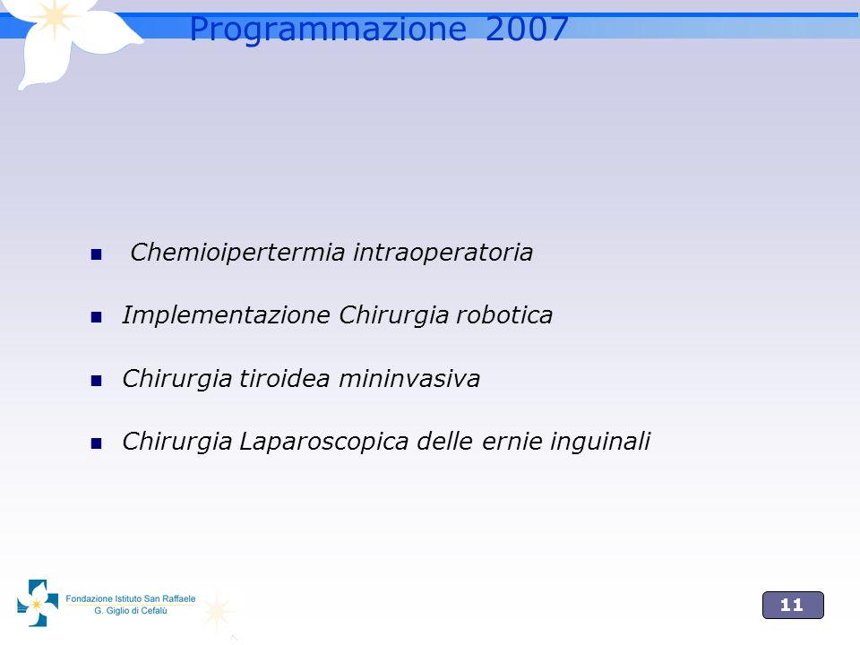 Programmazione 2007 Chemioipertermia intraoperatoria