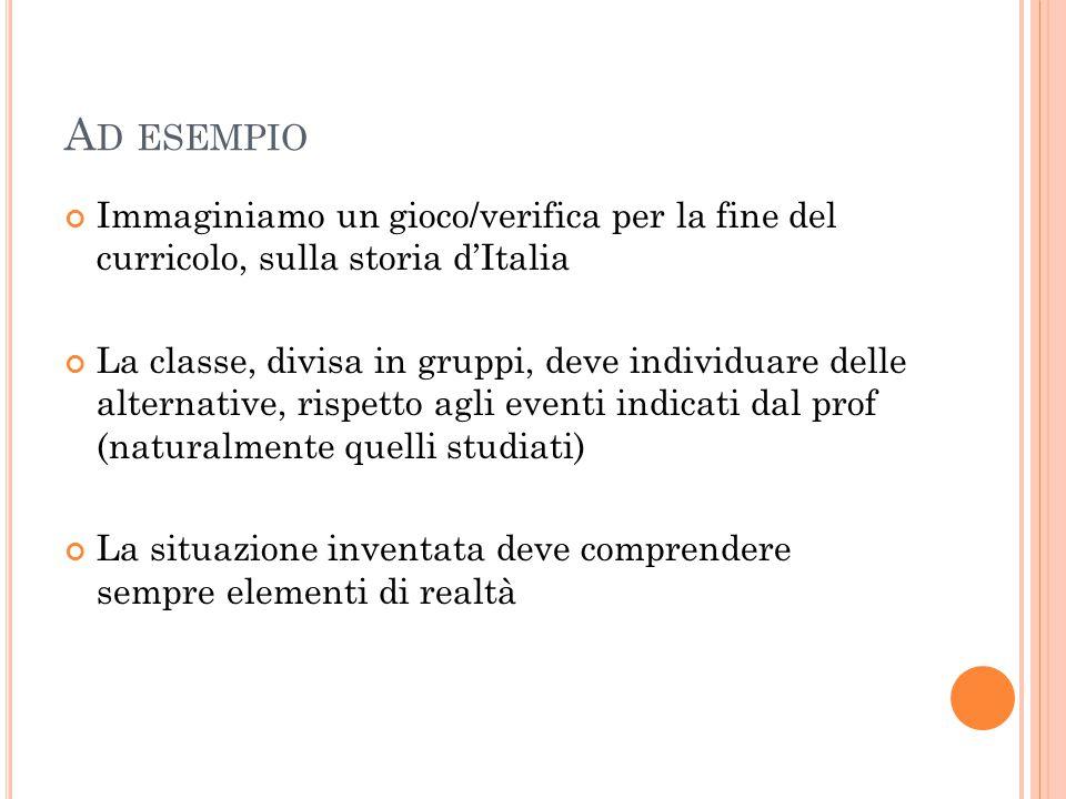 Ad esempio Immaginiamo un gioco/verifica per la fine del curricolo, sulla storia d'Italia.