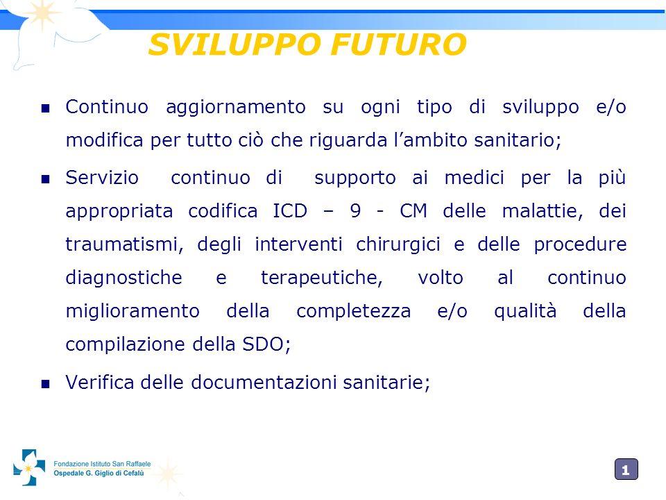 SVILUPPO FUTURO Continuo aggiornamento su ogni tipo di sviluppo e/o modifica per tutto ciò che riguarda l'ambito sanitario;