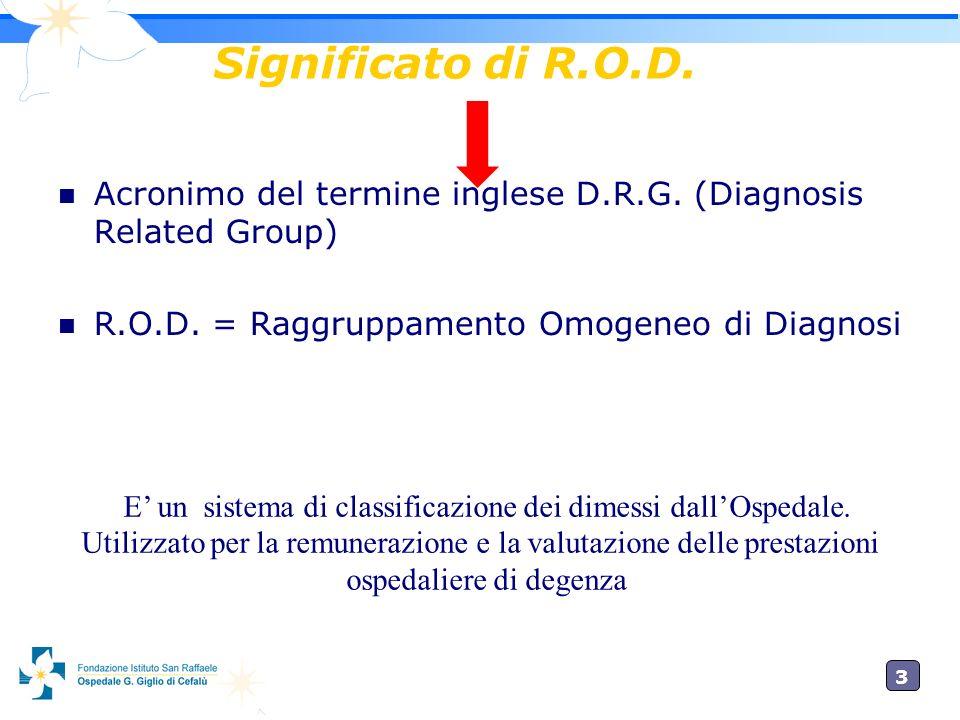 Significato di R.O.D.Acronimo del termine inglese D.R.G. (Diagnosis Related Group) R.O.D. = Raggruppamento Omogeneo di Diagnosi.