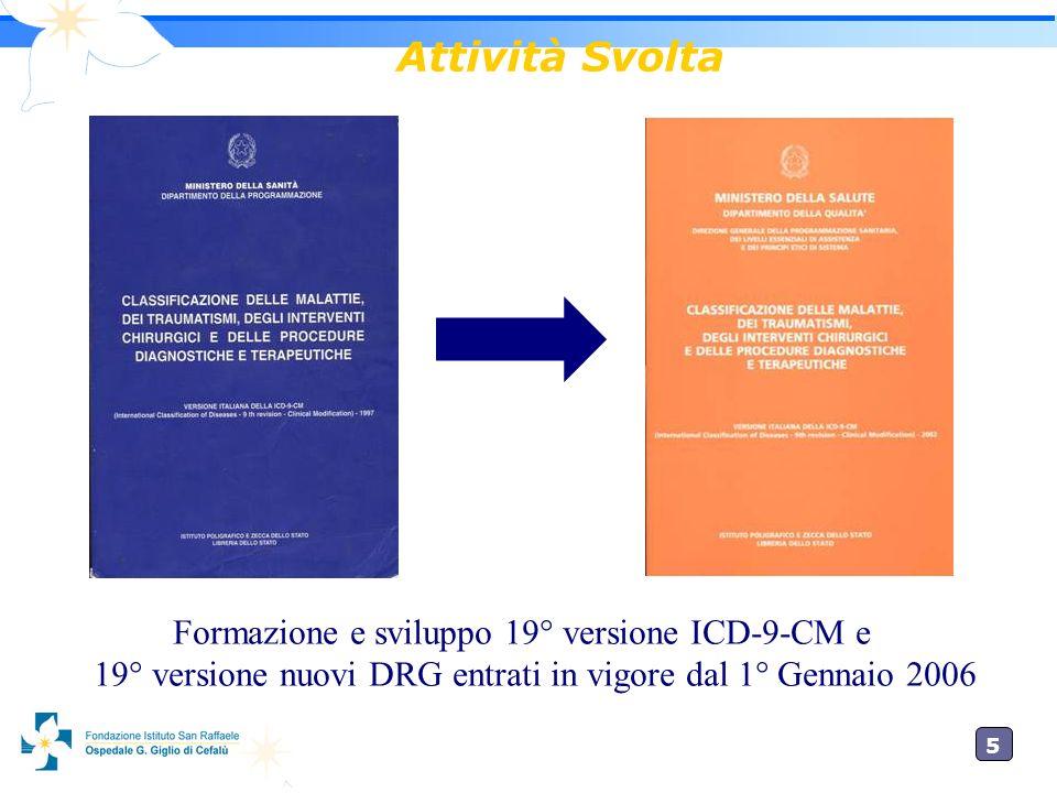 Attività Svolta Formazione e sviluppo 19° versione ICD-9-CM e