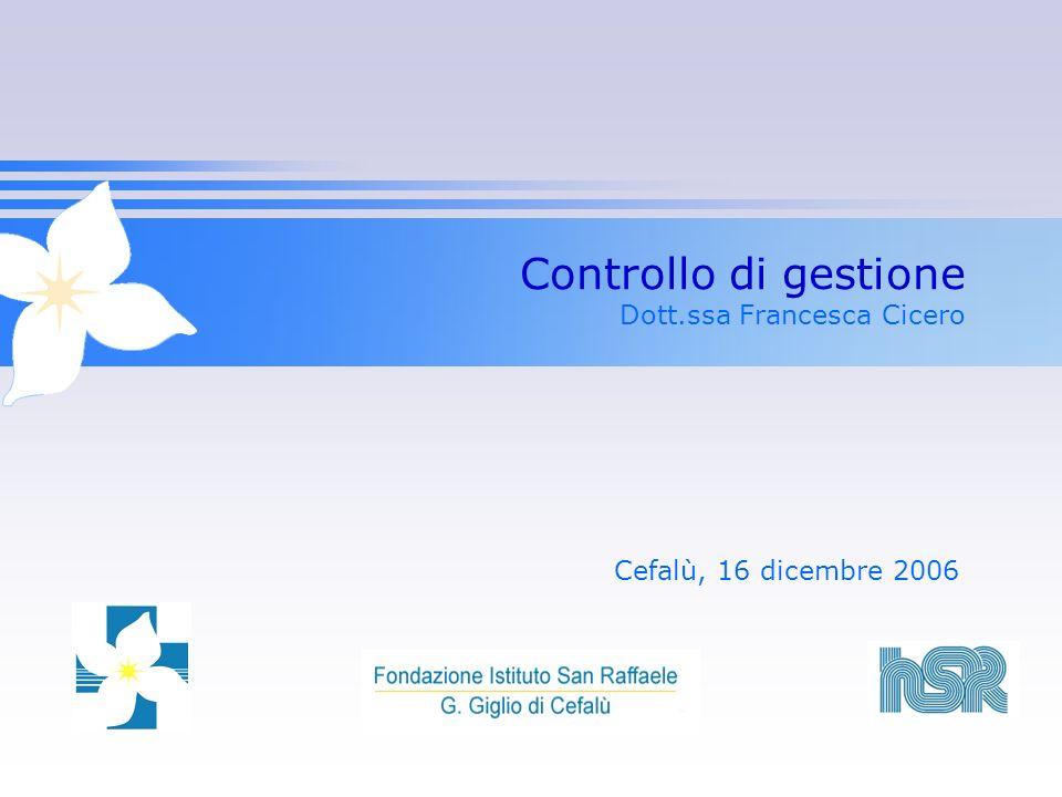Controllo di gestione Dott.ssa Francesca Cicero