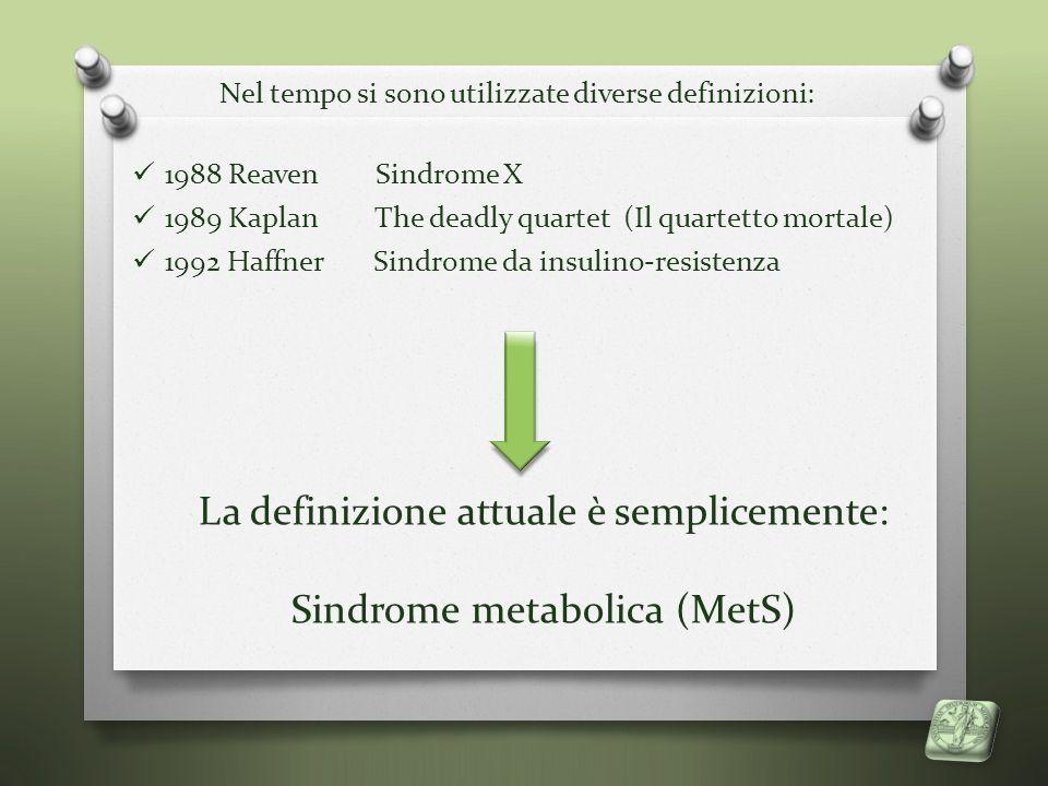 La definizione attuale è semplicemente: Sindrome metabolica (MetS)