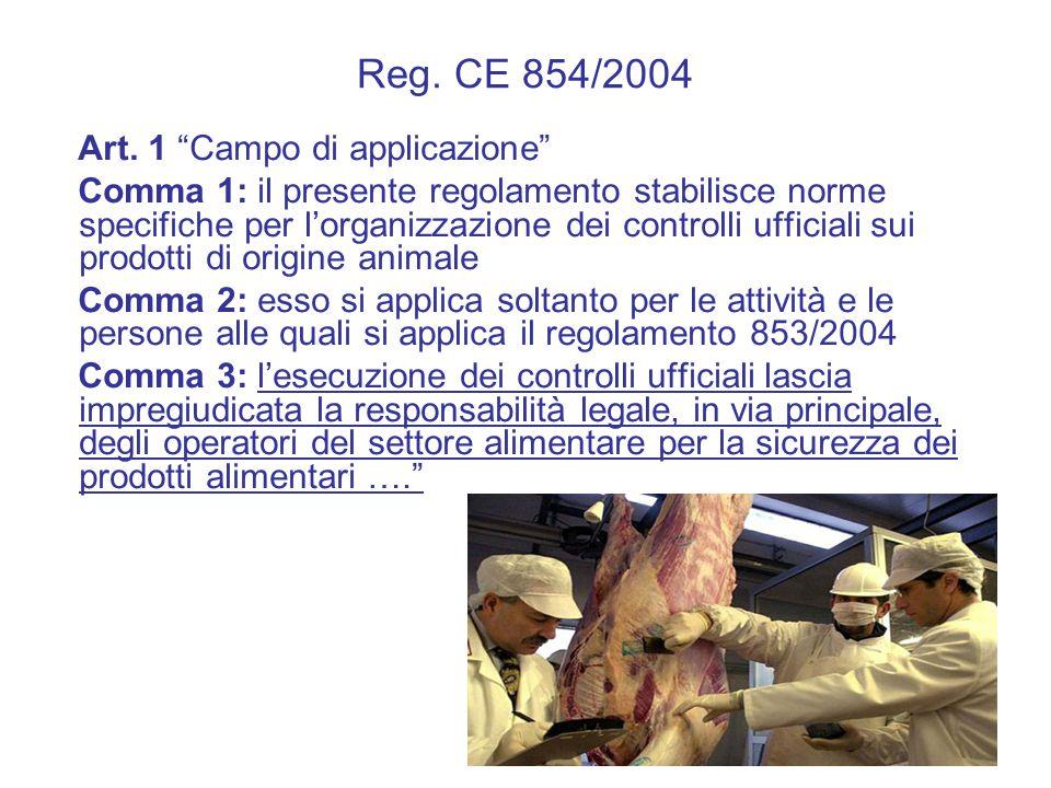 Reg. CE 854/2004 Art. 1 Campo di applicazione