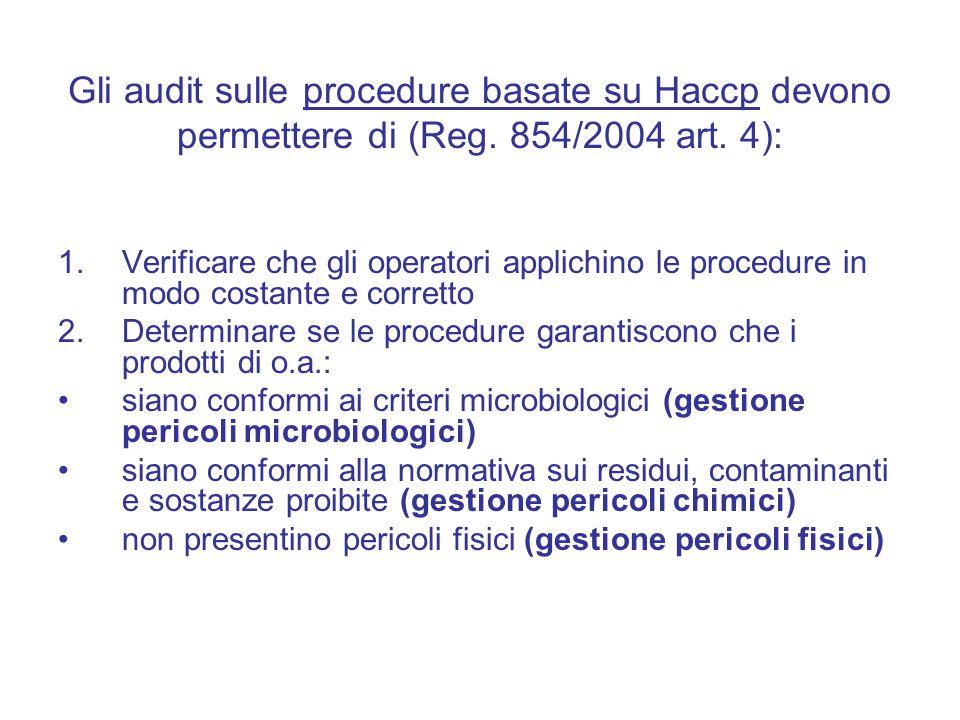 Gli audit sulle procedure basate su Haccp devono permettere di (Reg