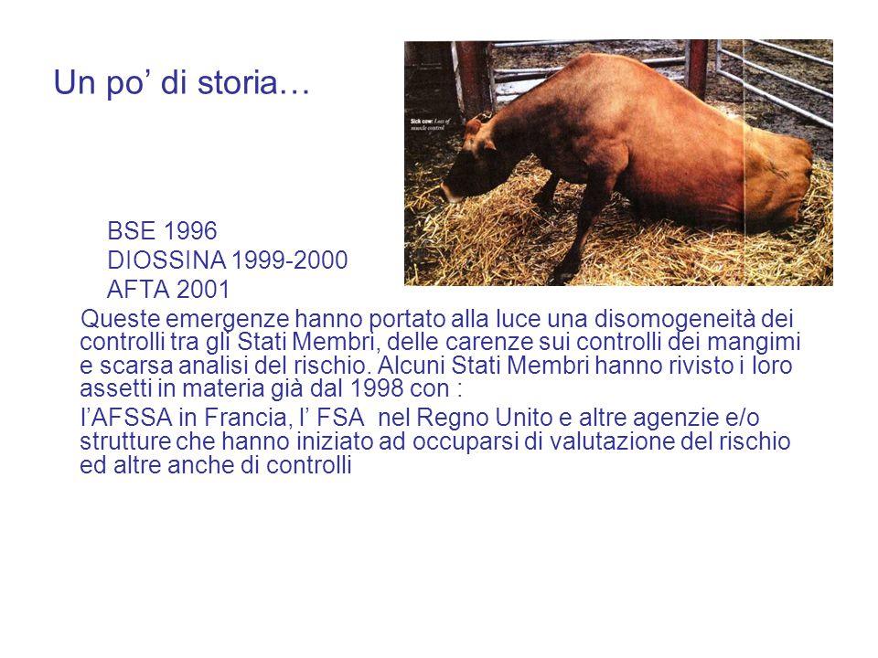 Un po' di storia… BSE 1996 DIOSSINA 1999-2000 AFTA 2001