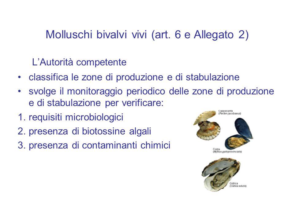 Molluschi bivalvi vivi (art. 6 e Allegato 2)