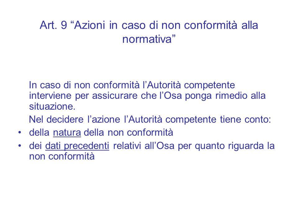 Art. 9 Azioni in caso di non conformità alla normativa